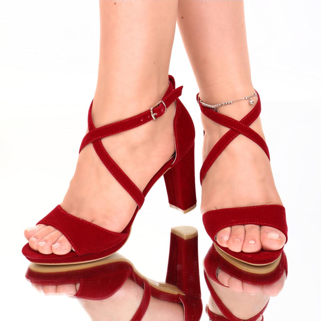 Sandale piele ecologica intoarsa rosii Inera