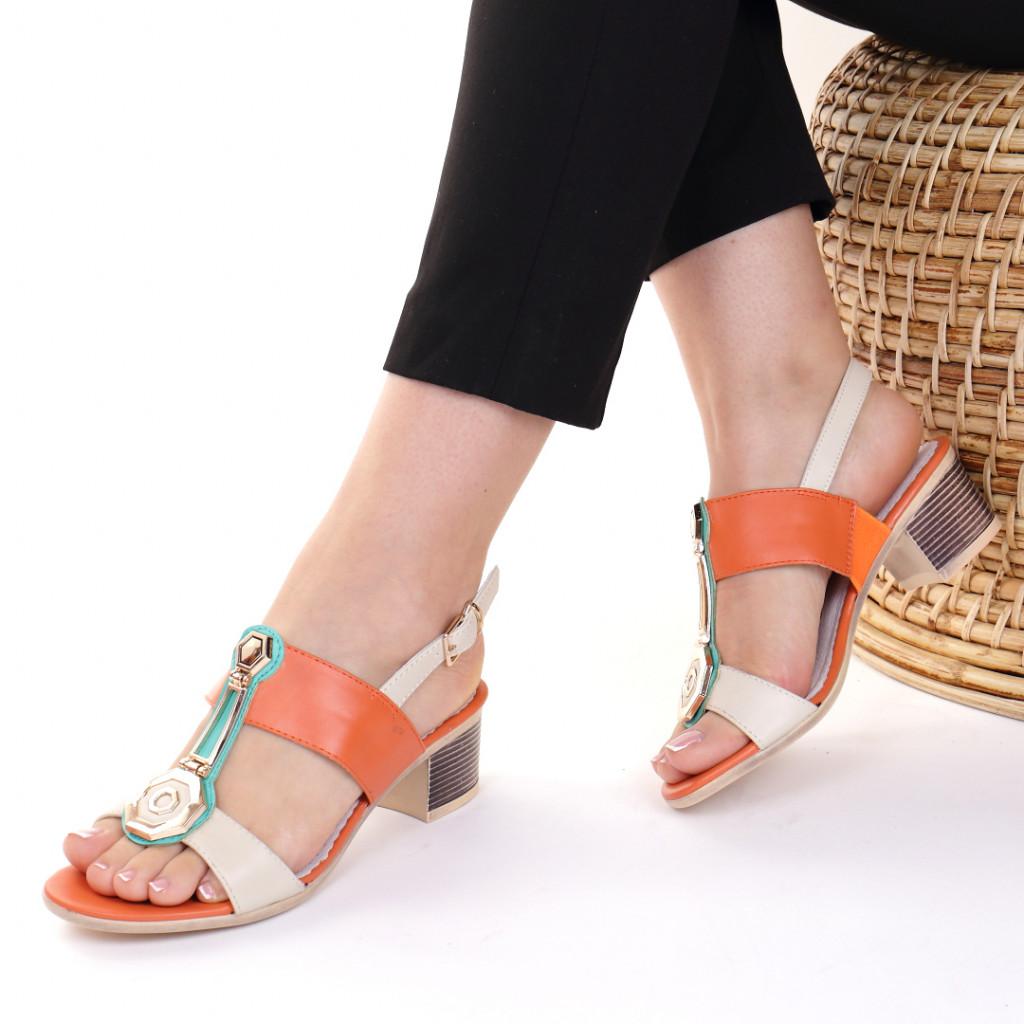 Sandale piele ecologica portocalii Yvone