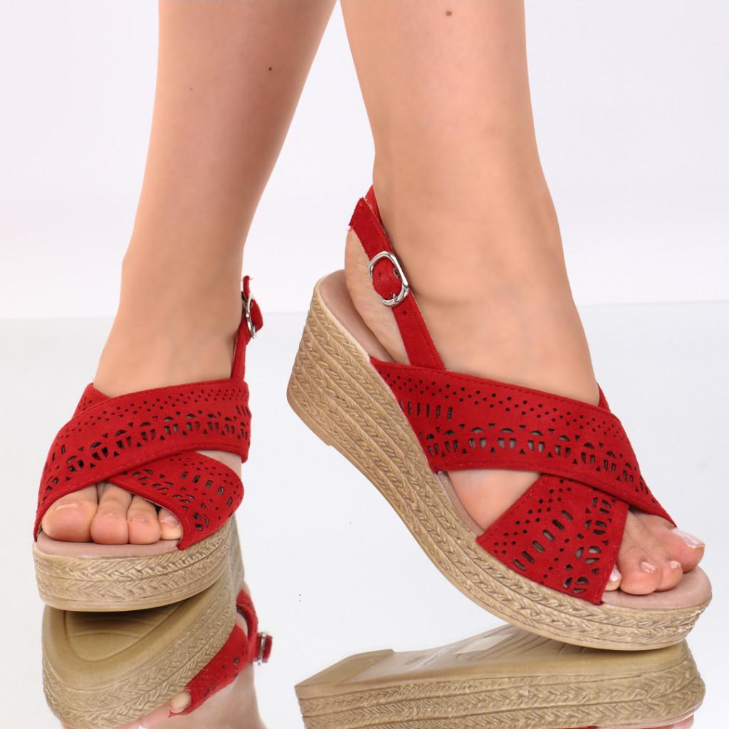 Sandale piele ecologica rosii Tamera