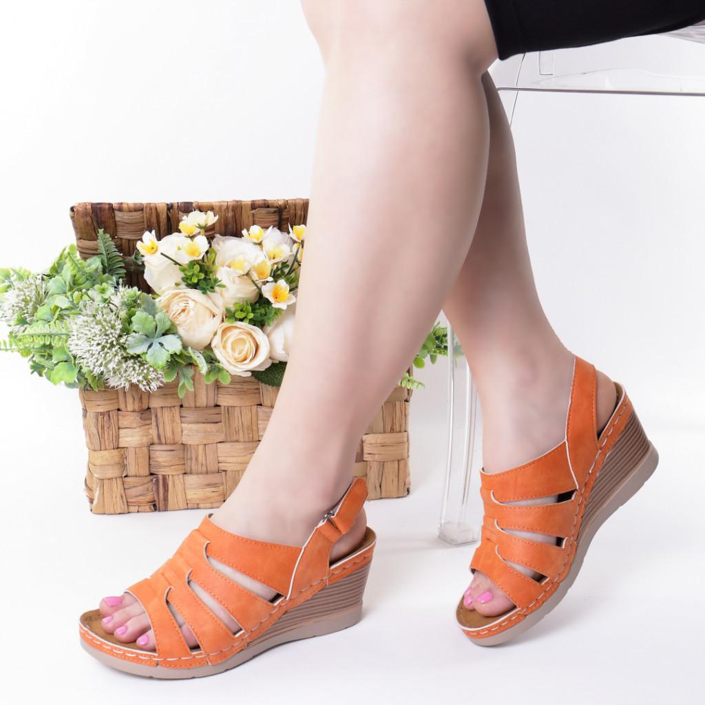 Sandale portocalii piele ecologica Giorgia