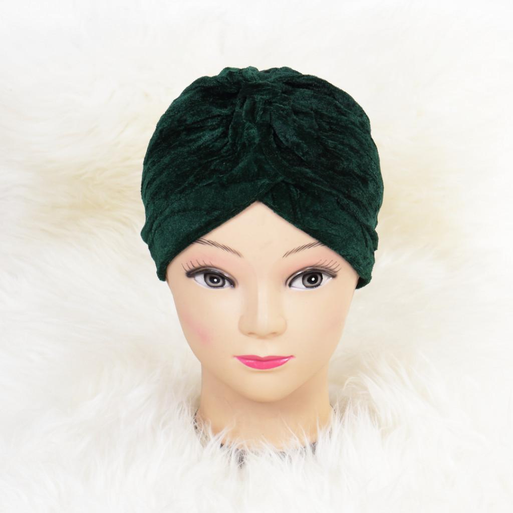 Turban catifelat verde Ina