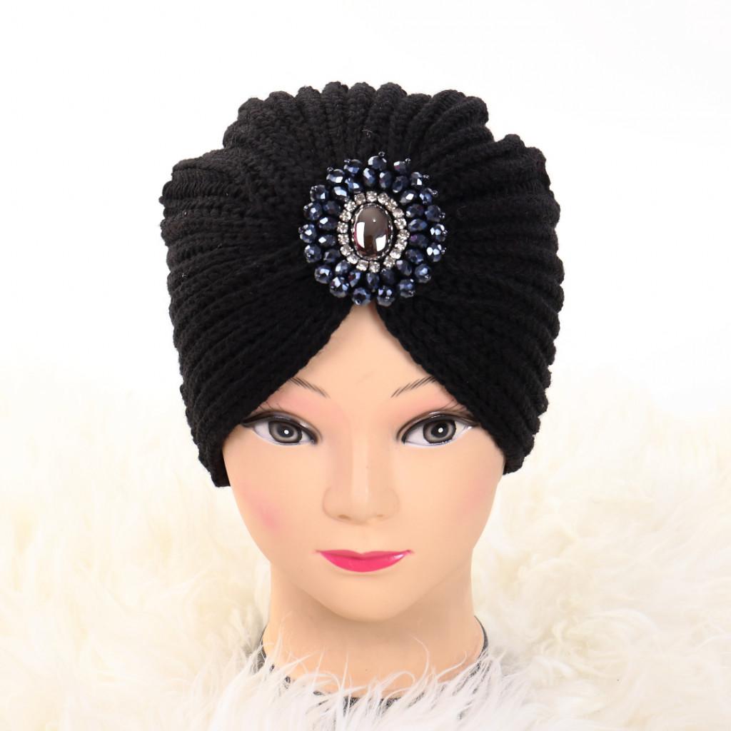 Turban cu model negru Ovo