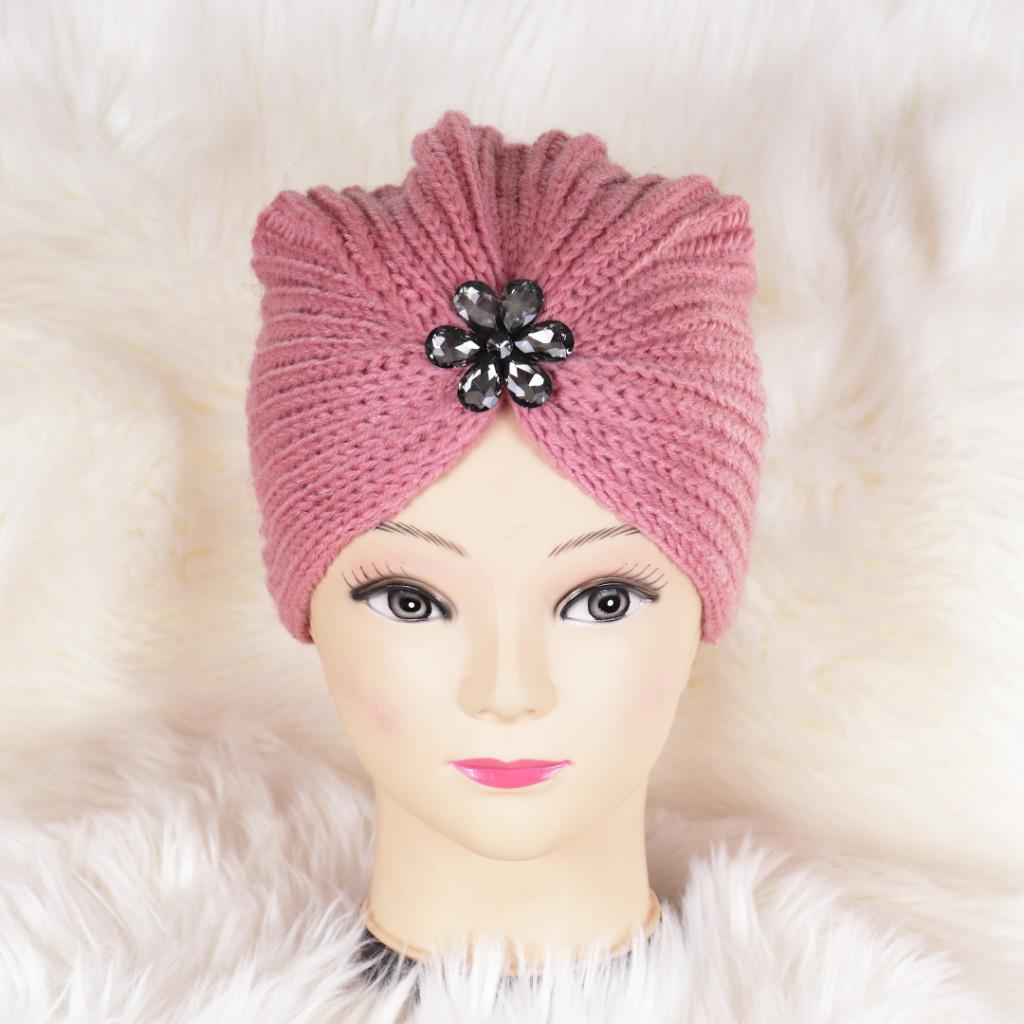 Caciula roz tricotata stil turban Niki