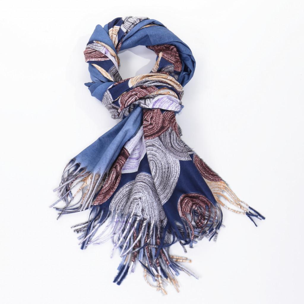 Esarfa bleumarin colorata Ronita