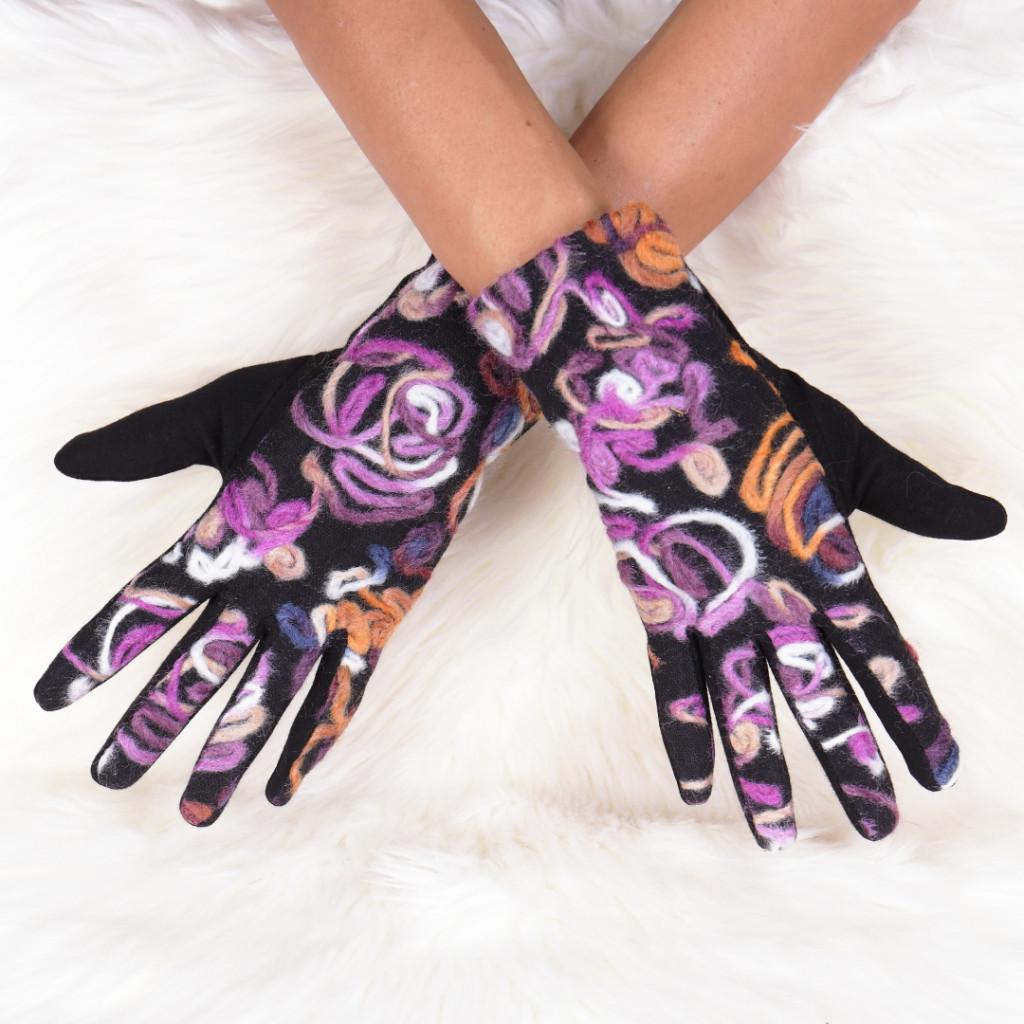 Manusi cu imprimeu floral mov Ilma