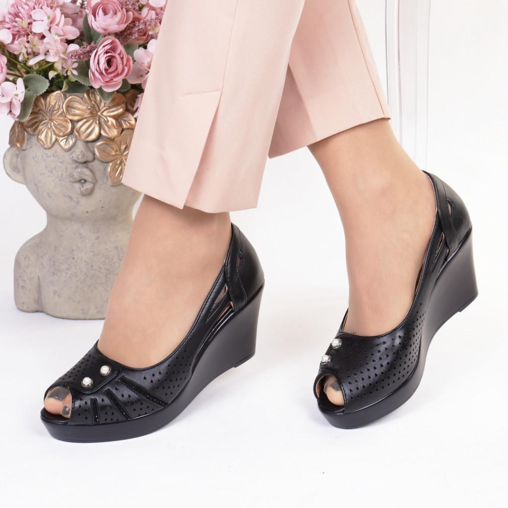 Pantofi negri piele ecologica Cristela