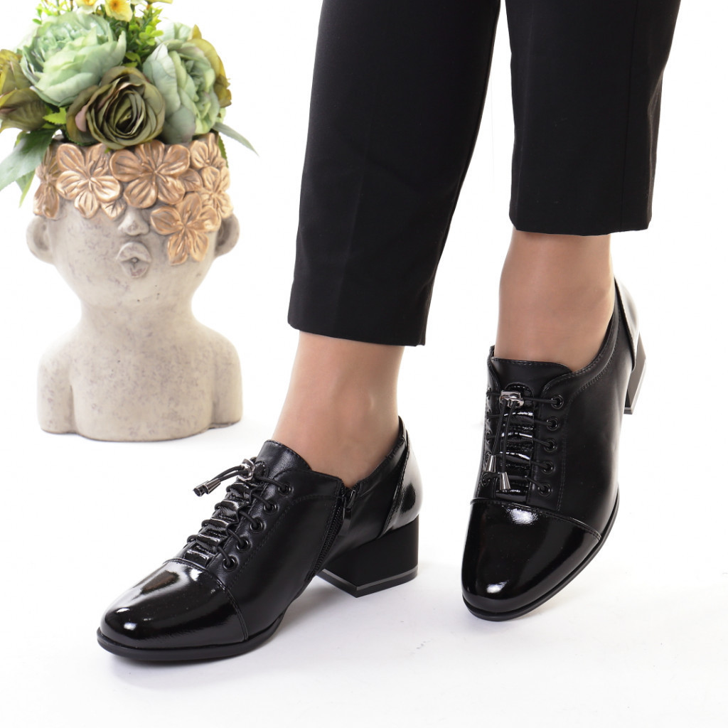 Pantofi negri piele ecologica Monalisa