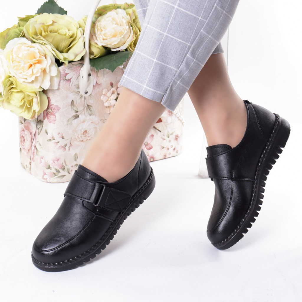 Pantofi negri piele ecologica Rezana