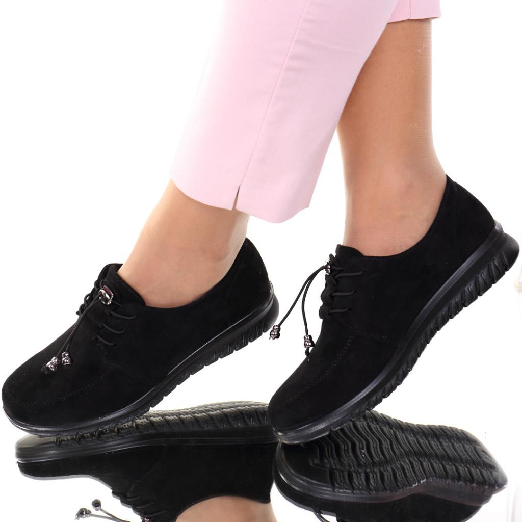 Pantofi piele ecologica intoarsa negri Vela