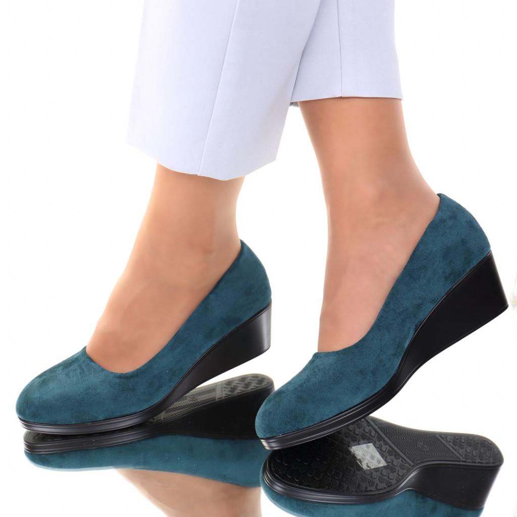 Pantofi piele ecologica intoarsa verzi Sarai