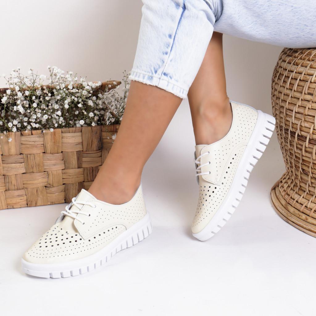 Pantofi piele naturala bej Nevada
