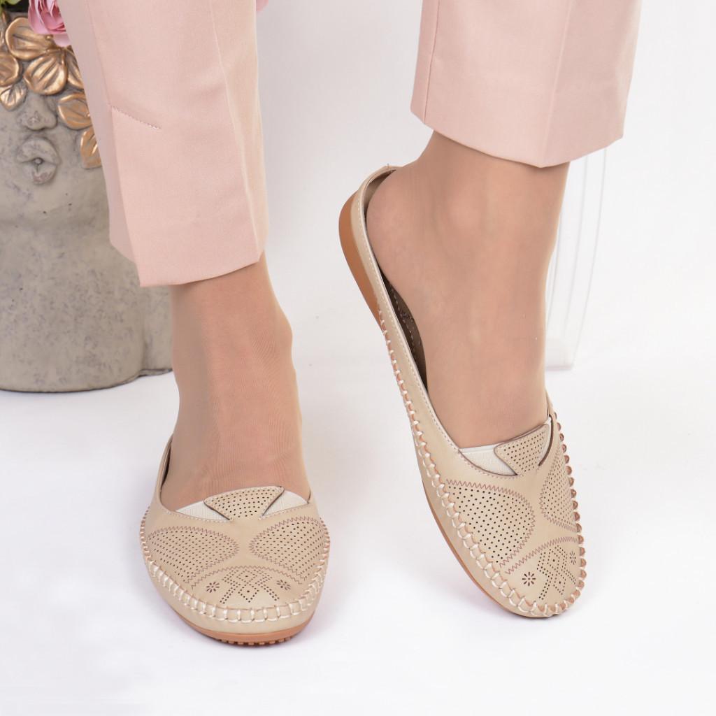 Papuci bej piele ecologica Anuta