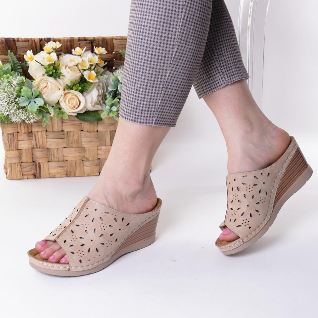 Papuci bej piele ecologica Ilinca