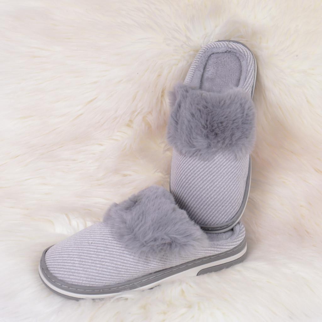 Papuci de casa cu puf gri Gora