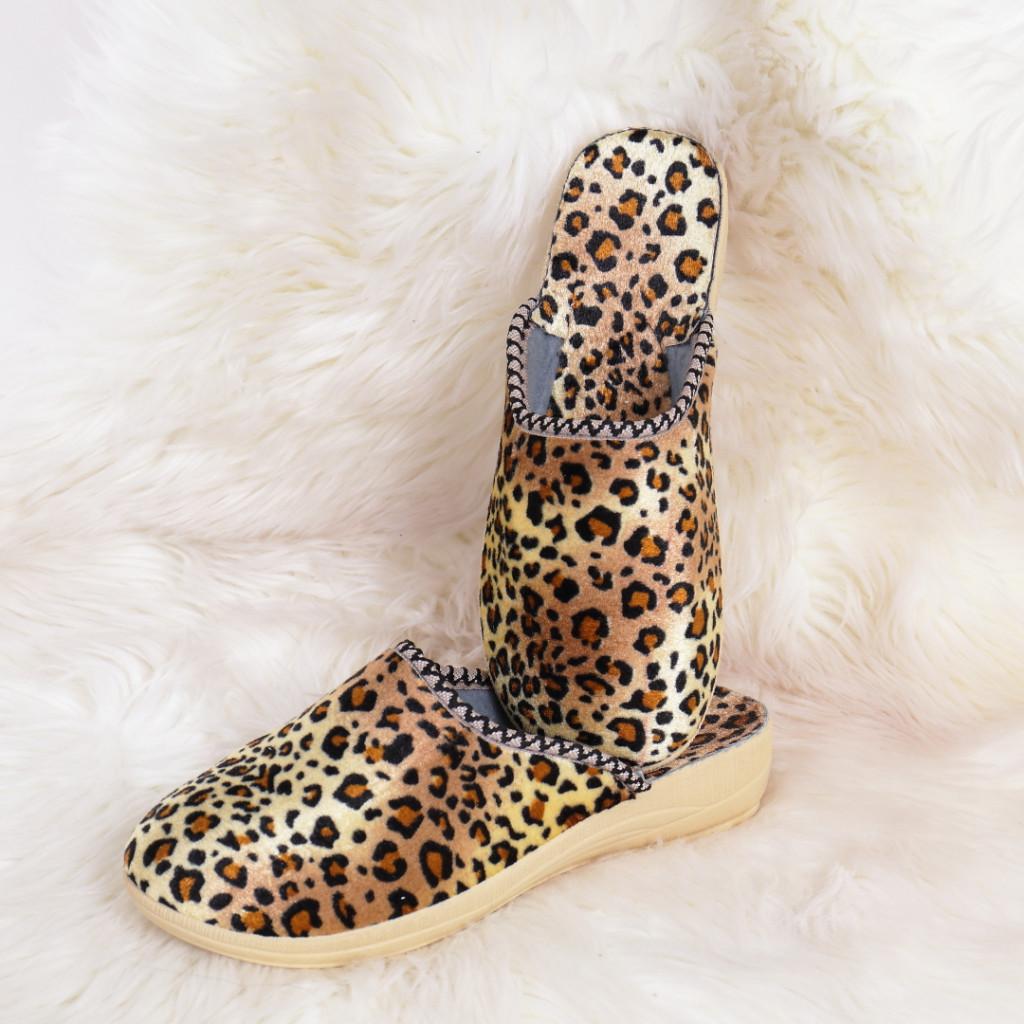 Papuci de casa leopard Nova