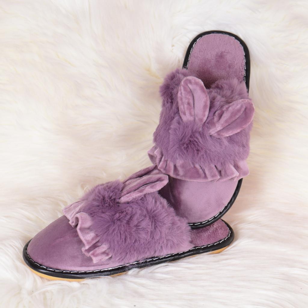 Papuci de casa lila cu iepuras Landa