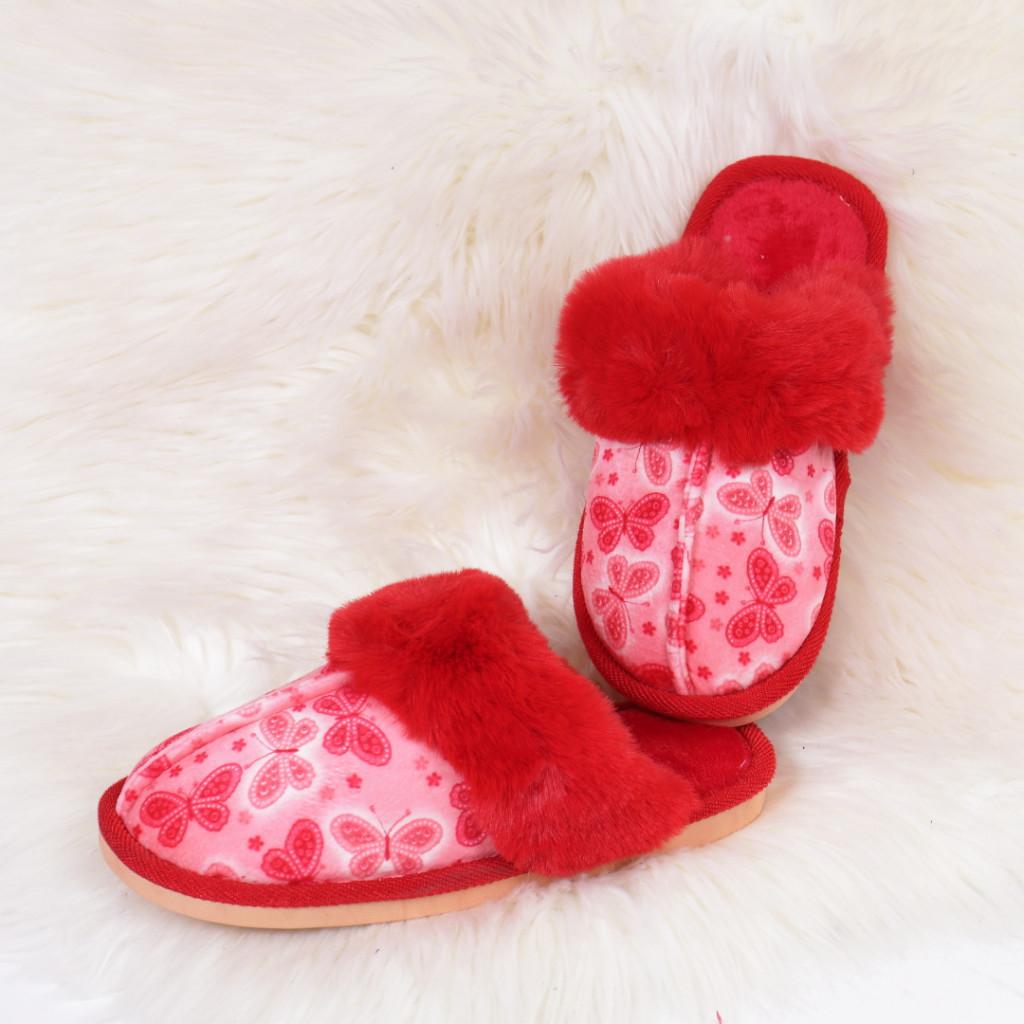 Papuci de casa rosii Daliana
