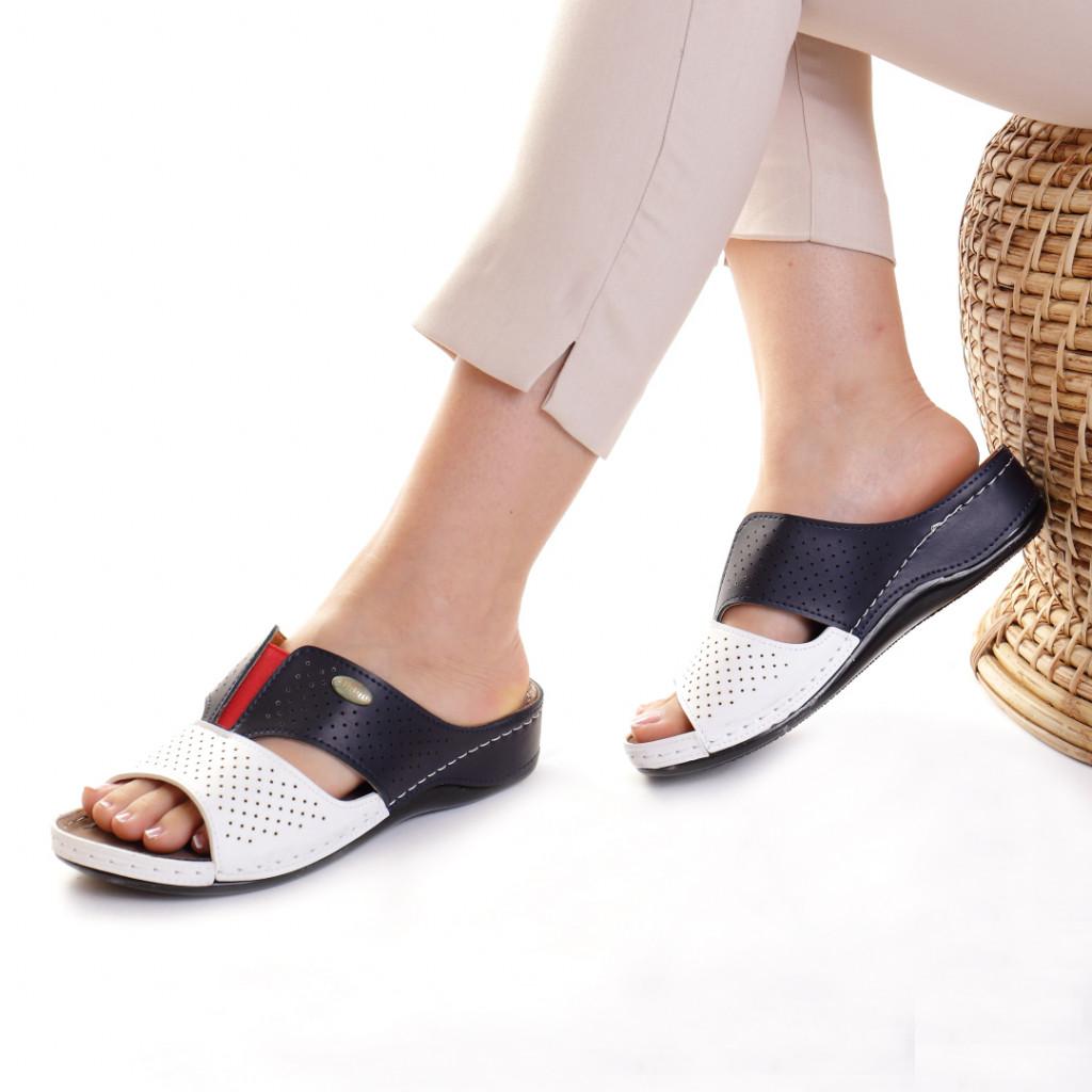 Papuci piele ecologica alb cu bleumarin Esfira