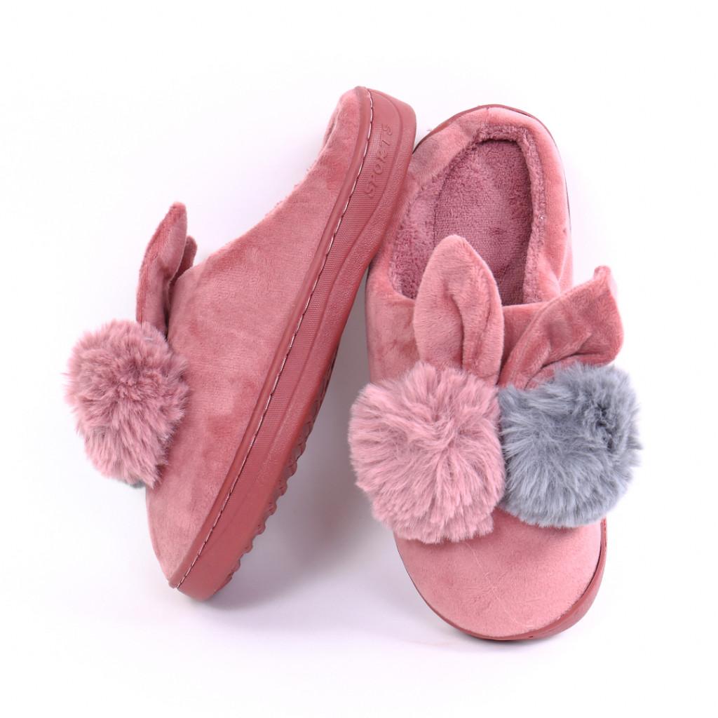 Papuci pufosi lila Rial