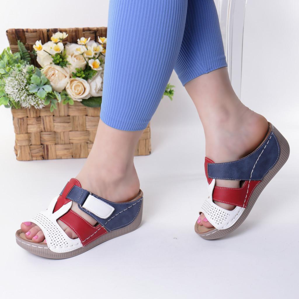 Papuci rosii piele ecologica Devira