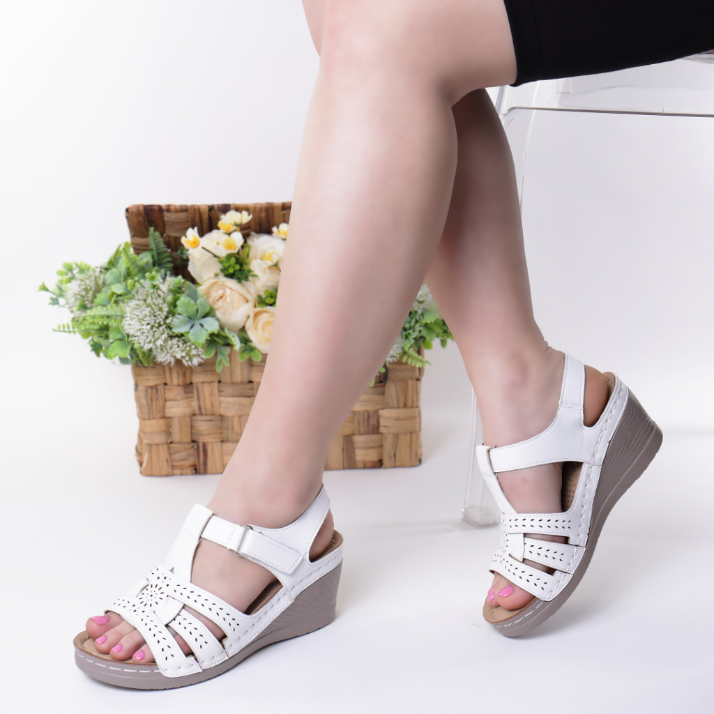 Sandale albe piele ecologica Iva