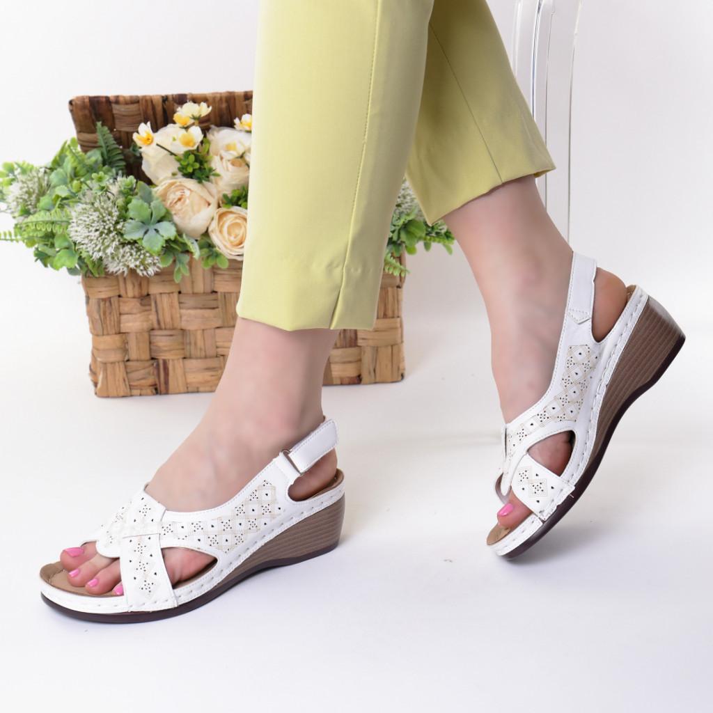 Sandale albe piele ecologica Riveka