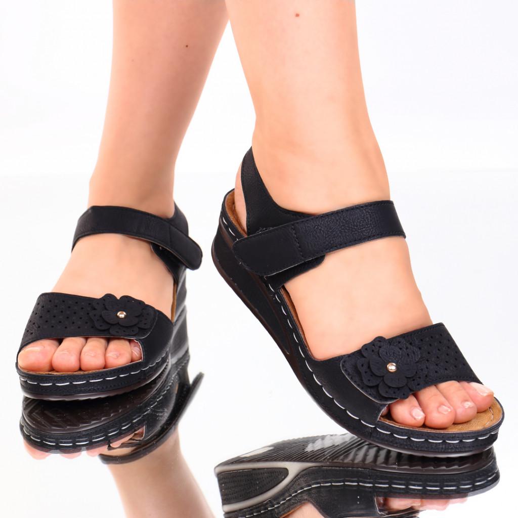 Sandale negre piele ecologica Nuna