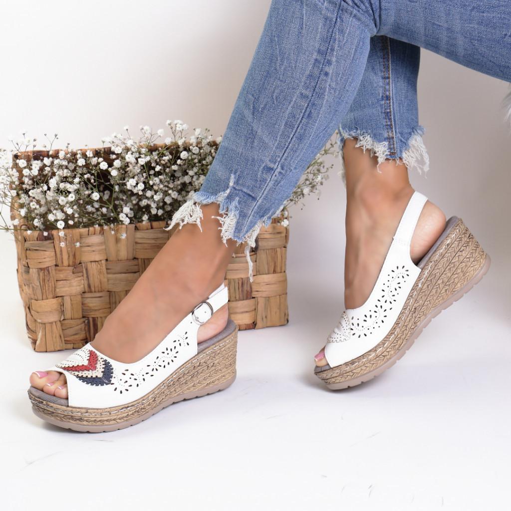 Sandale piele ecologica albe Cleopatra