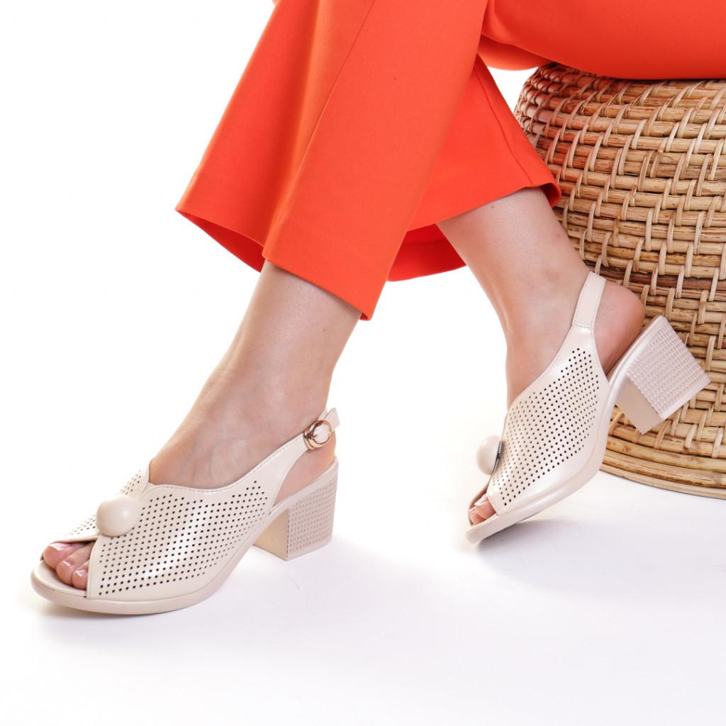 Sandale piele ecologica crem Bethania