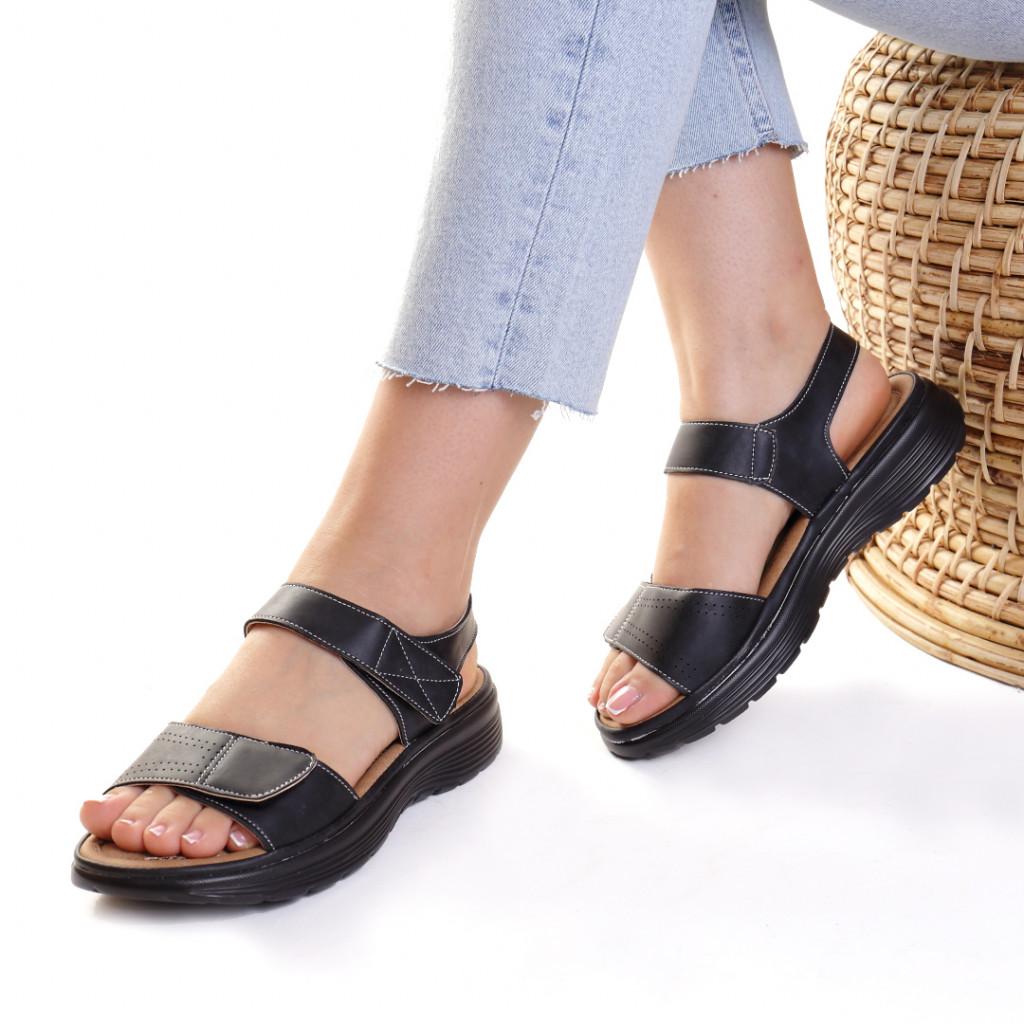 Sandale piele ecologica negre Aksinya