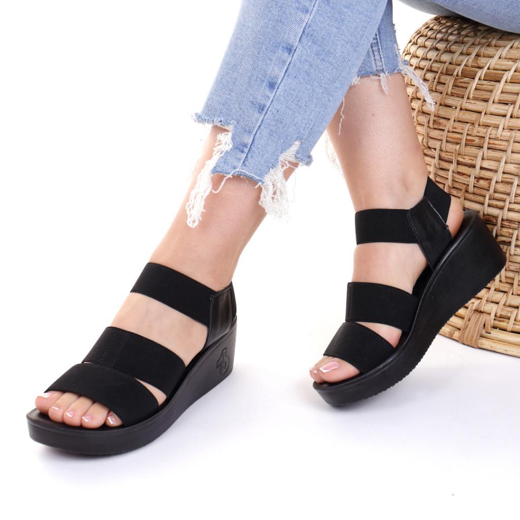 Sandale piele ecologica negre Lauriana