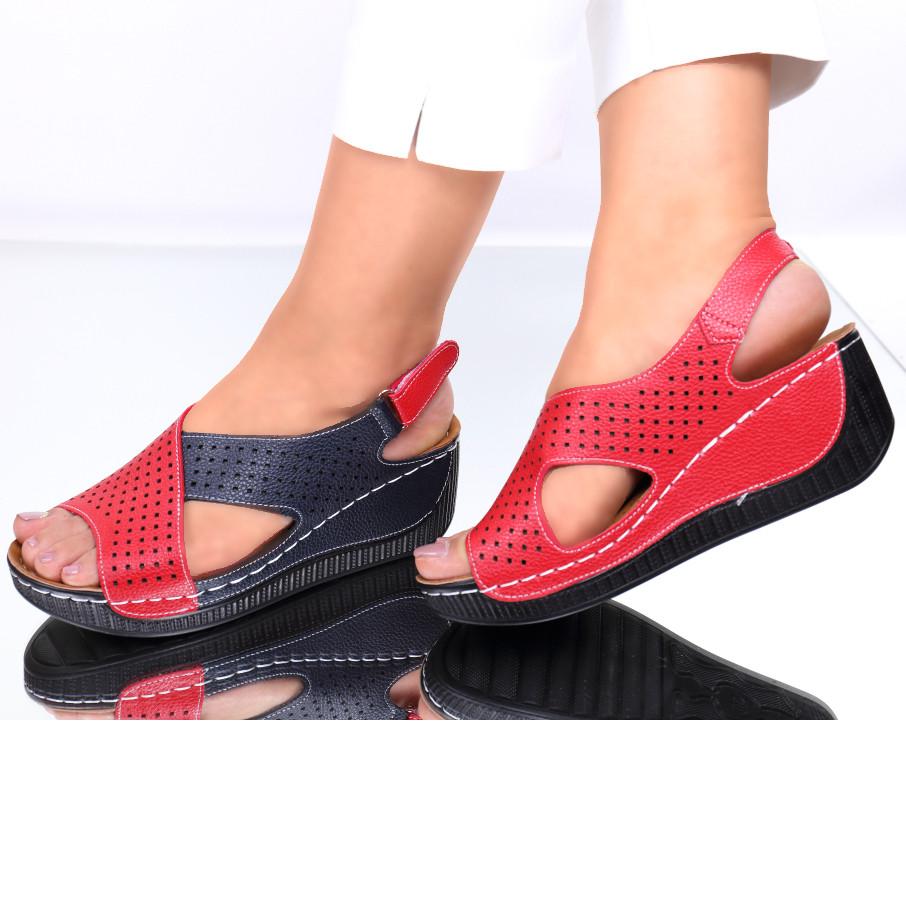 Sandale piele ecologica rosii Norma