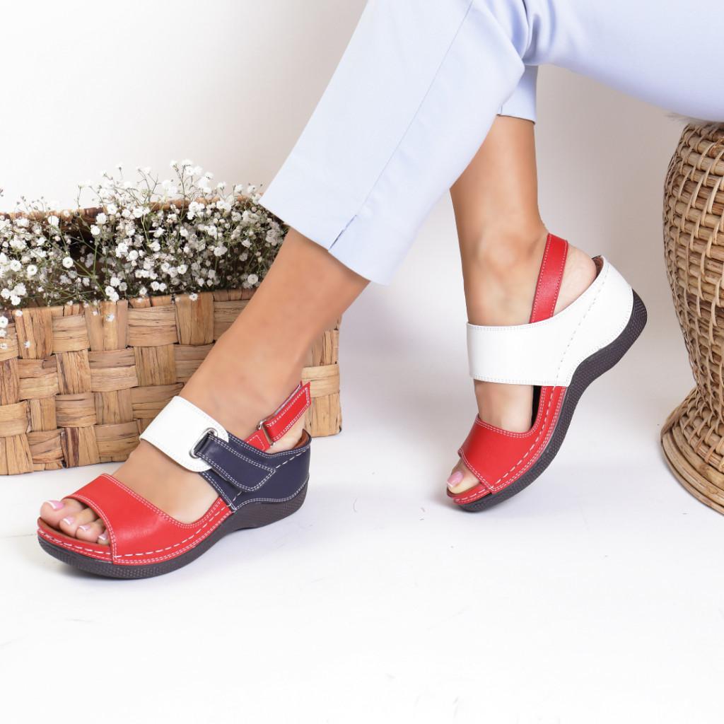 Sandale piele ecologica rosii Unica