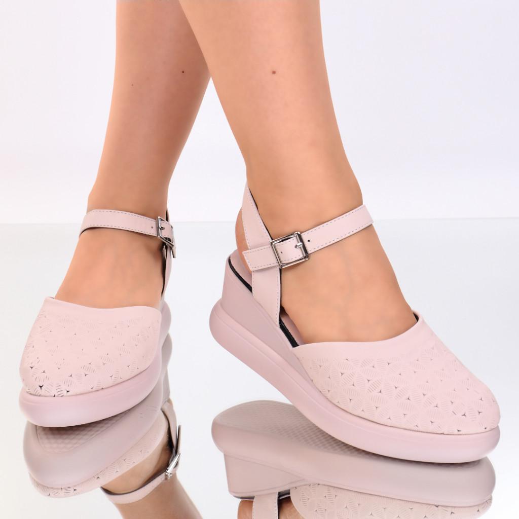 Sandale piele ecologica roz Aylin