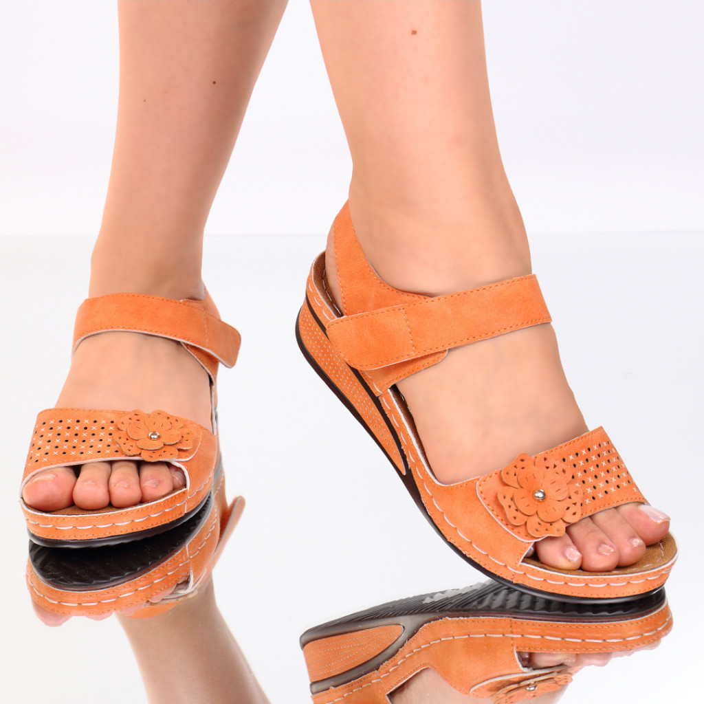 Sandale portocalii piele ecologica Nuna