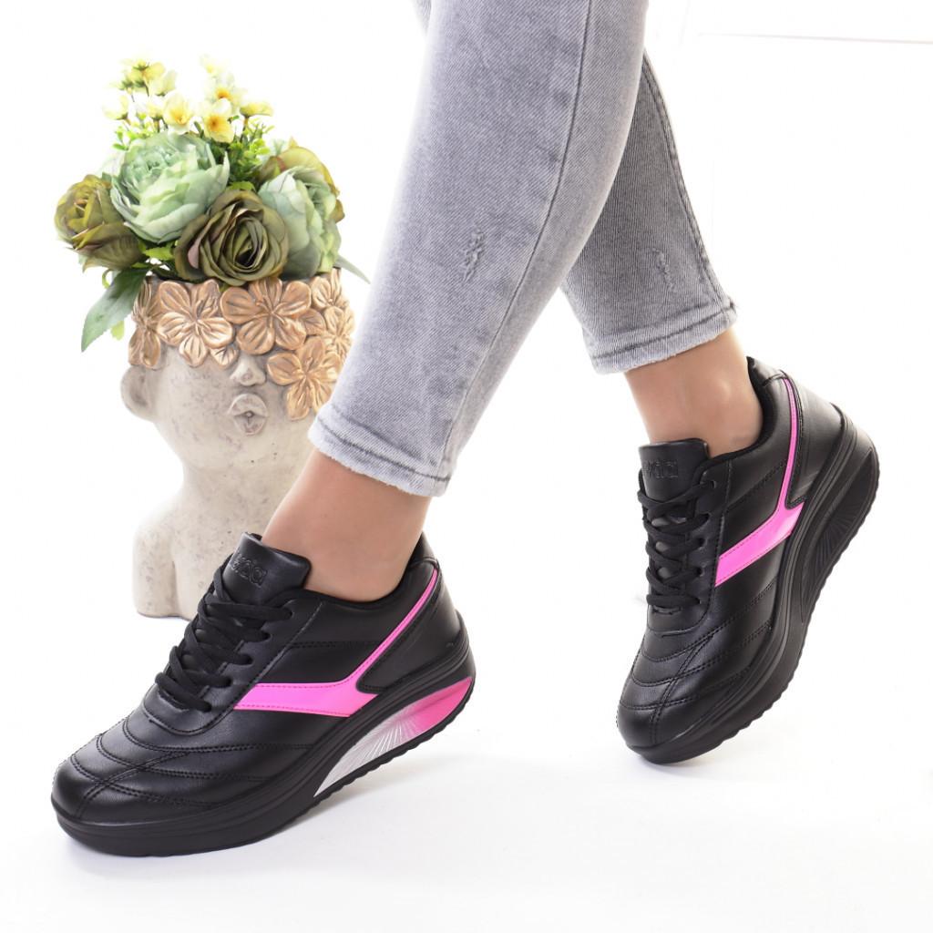 Adidasi negru cu roz piele ecologica Cristia