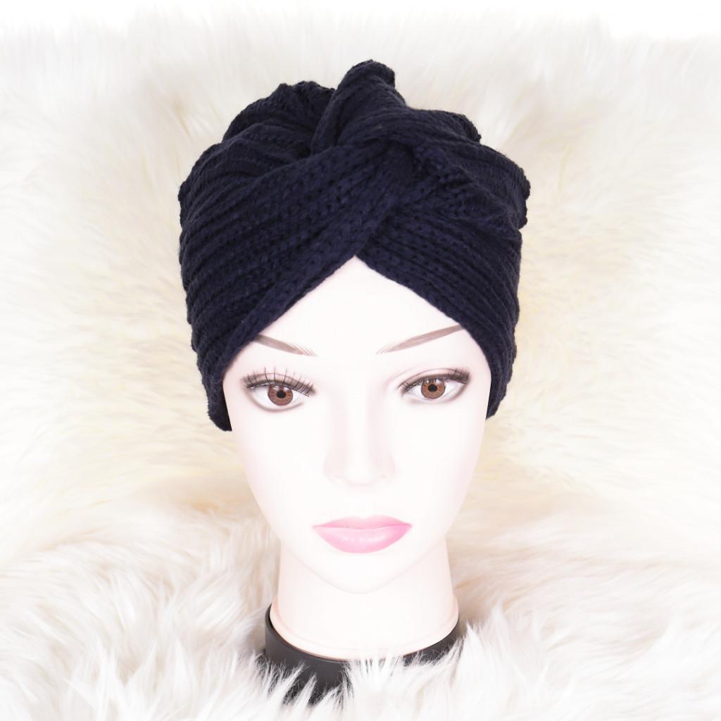Caciula bleumarin tricotata stil turban simplu Enli