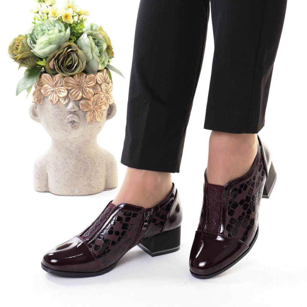 Pantofi bordo piele ecologica Indira