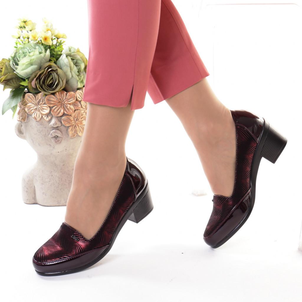 Pantofi bordo piele ecologica Tarika
