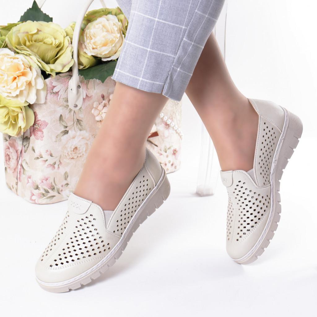 Pantofi crem piele ecologica Handa