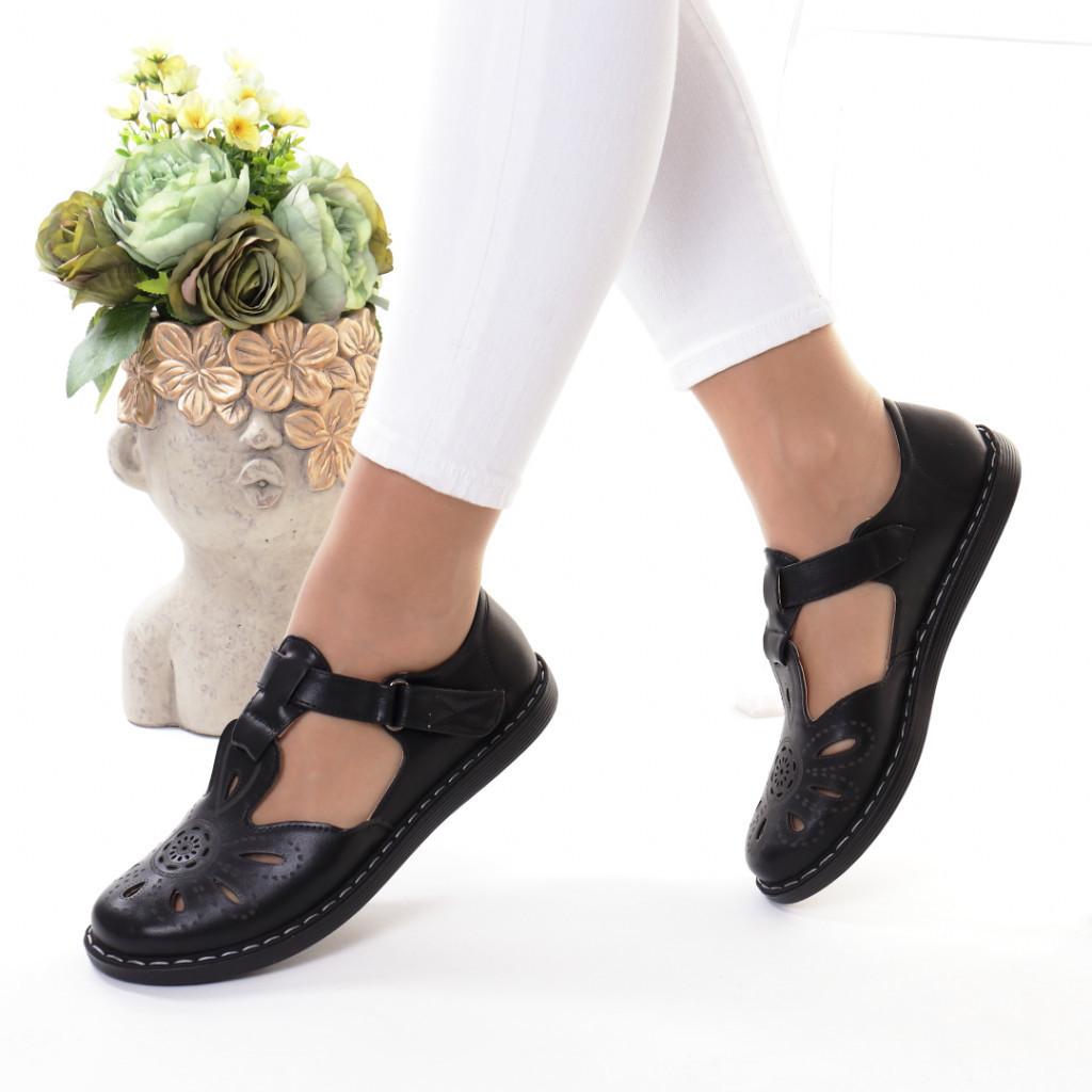Pantofi negri piele ecologica Erdonia