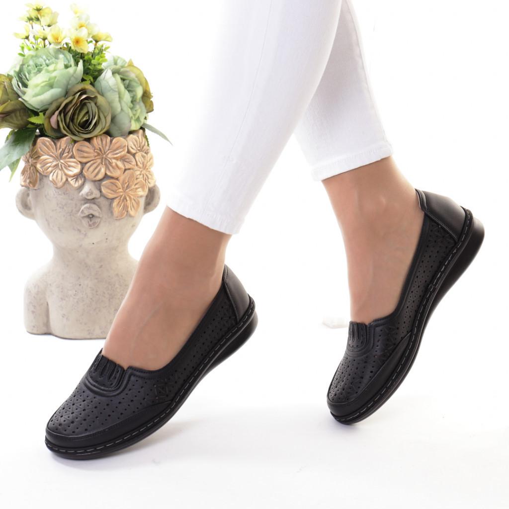 Pantofi negri piele ecologica Notera