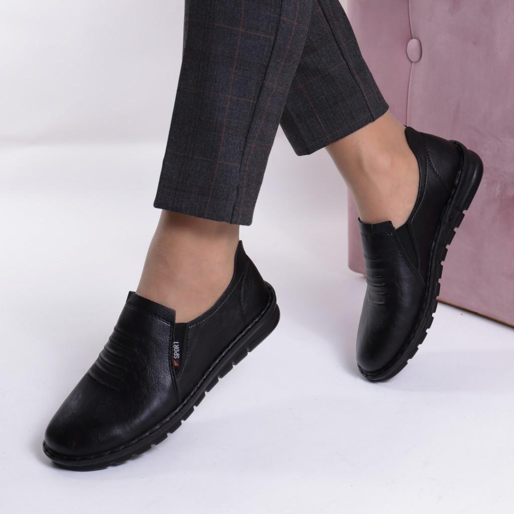 Pantofi negri piele ecologica Vasila