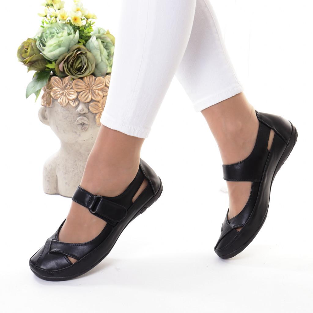 Pantofi negri piele ecologica Vezina
