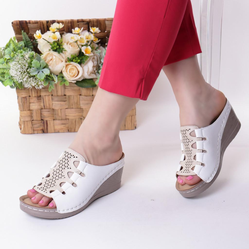 Papuci albi piele ecologica Alona