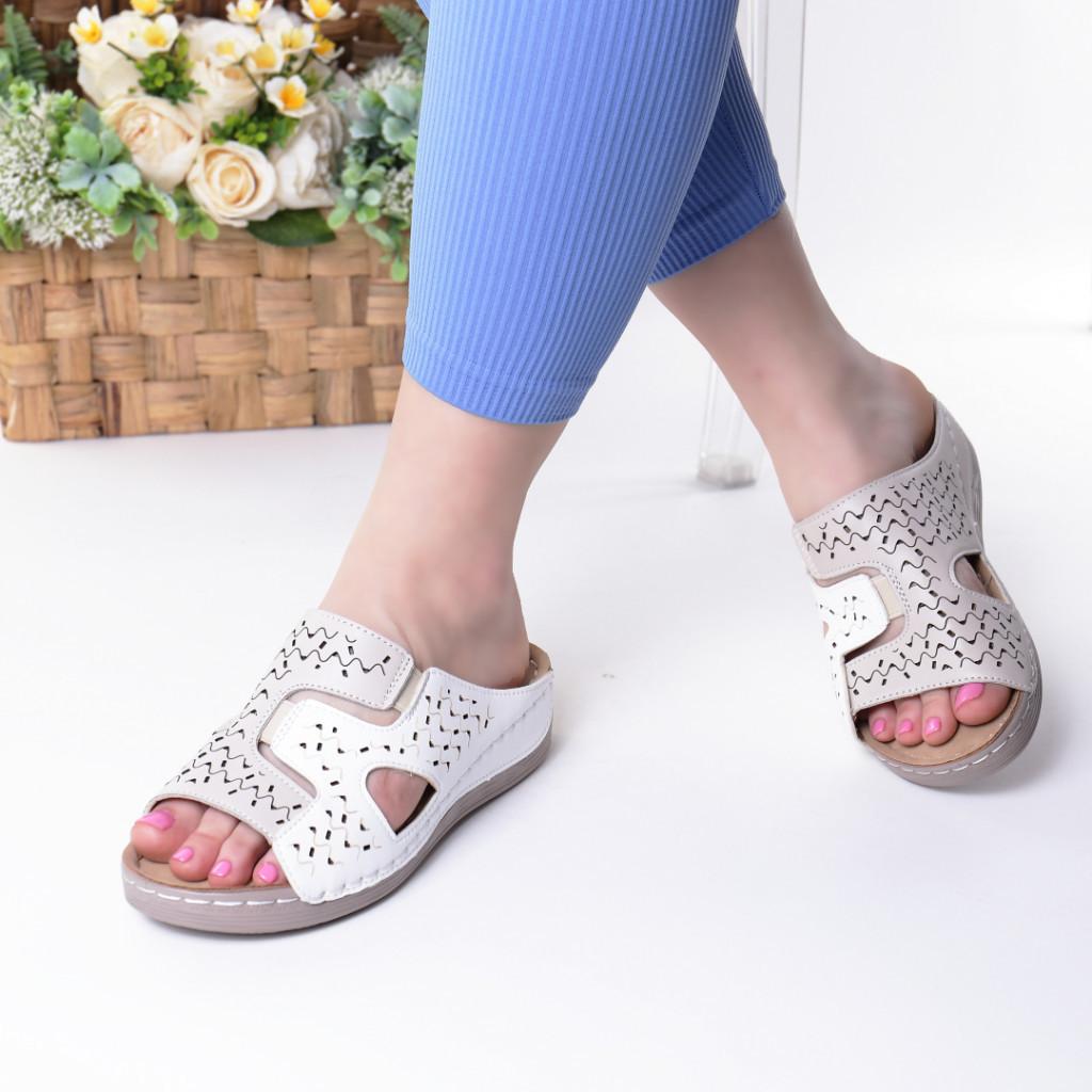 Papuci albi piele ecologica Aviva