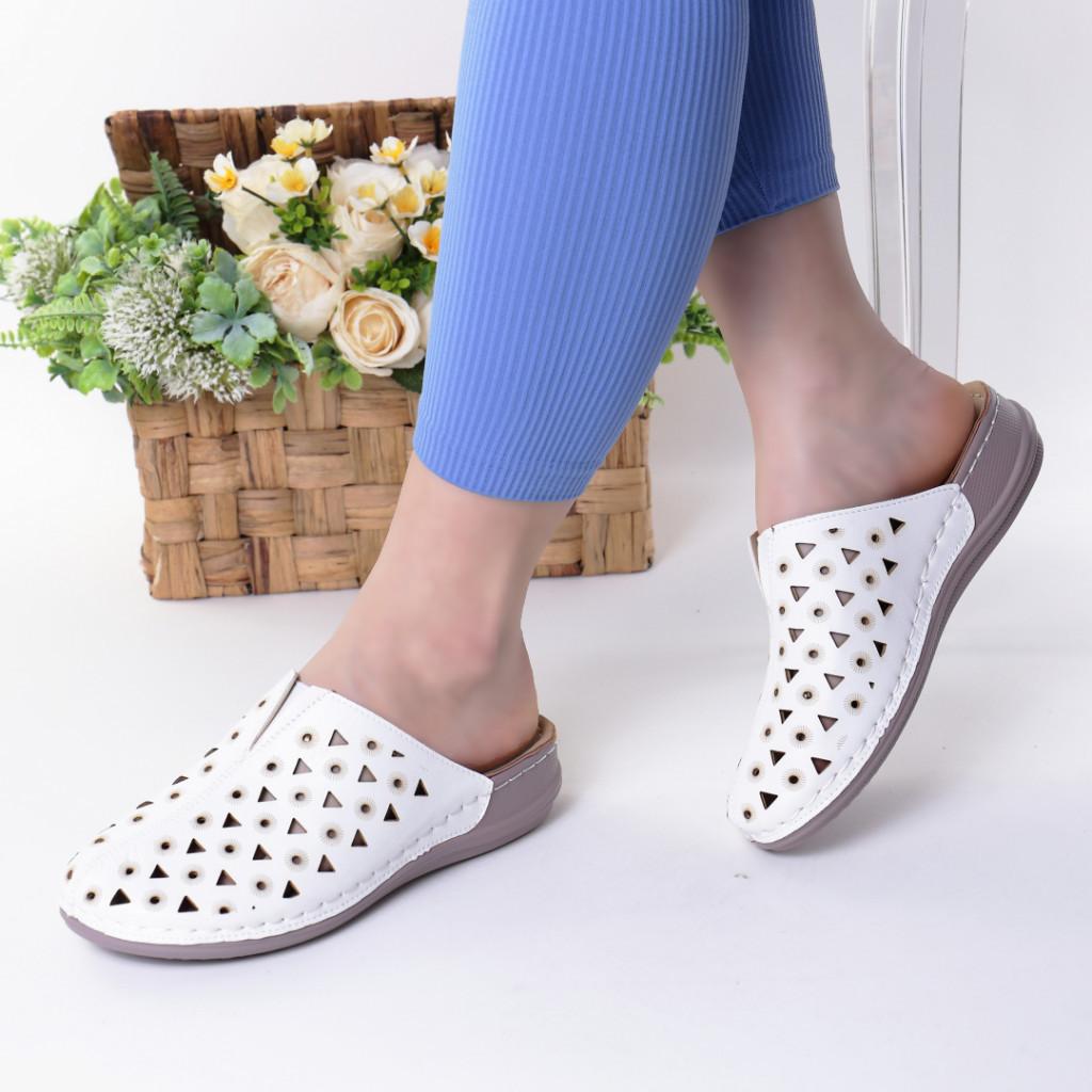 Papuci albi piele ecologica Elida