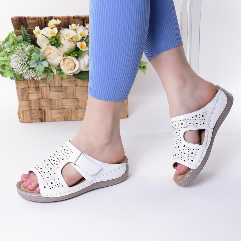 Papuci albi piele ecologica Orna