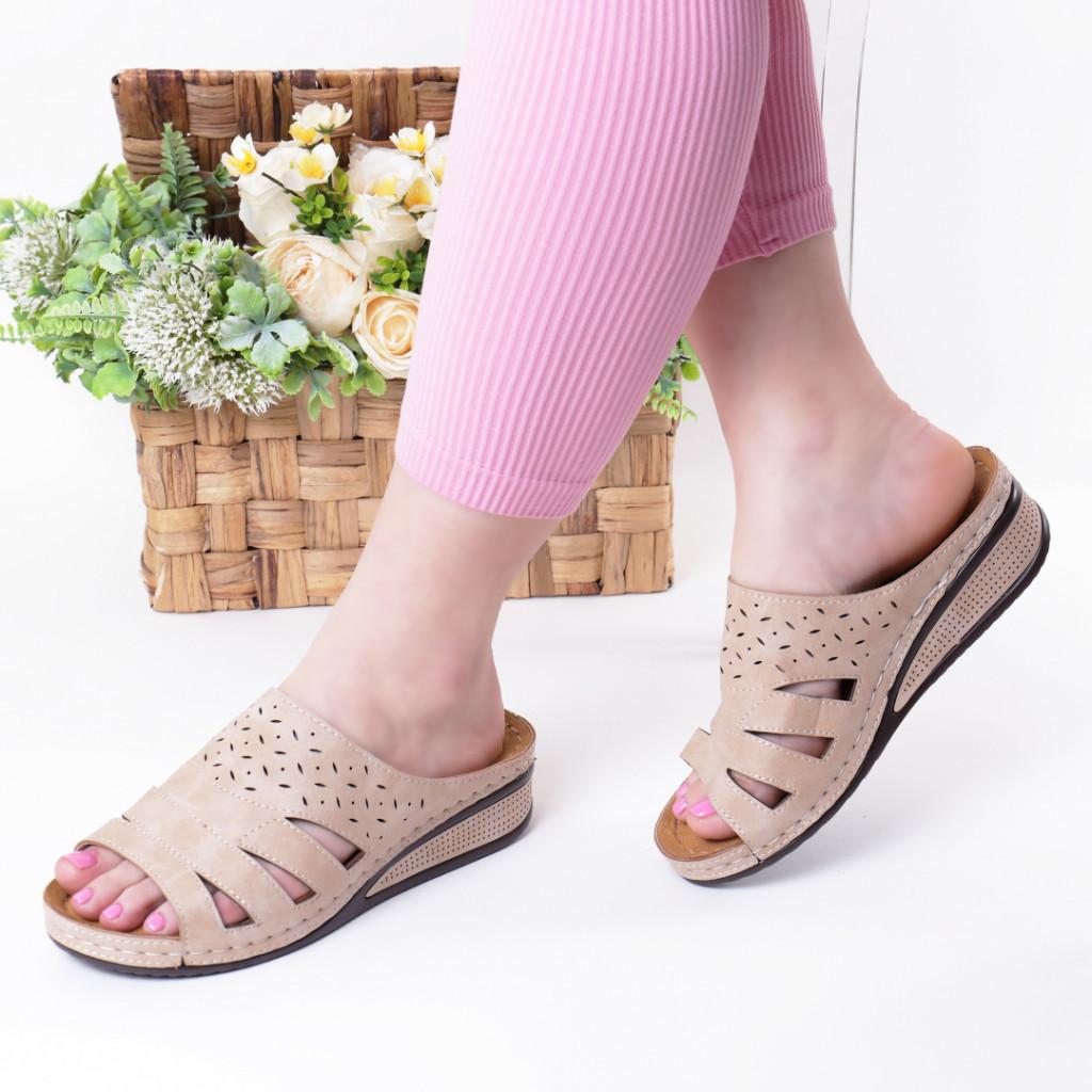 Papuci bej piele ecologica Savina