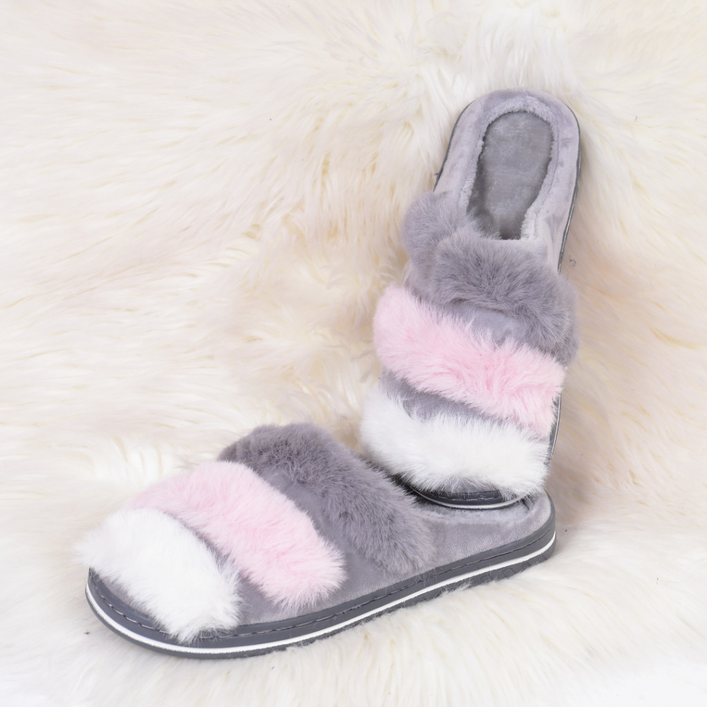 Papuci de casa cu dungi gri Caly